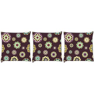 Snoogg Pack Of 3 Maroon Floral Pattern Digitally Printed Cushion Cover Pillow 8 X 8 Inch