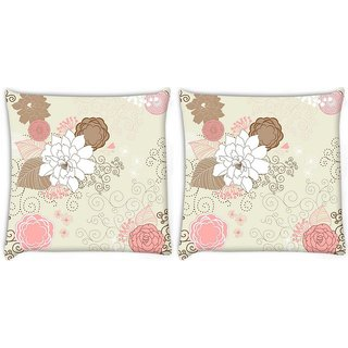 Snoogg Pack Of 2 White Rose Digitally Printed Cushion Cover Pillow 8 X 8 Inch