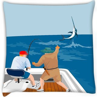 Snoogg  blue marlin fish jumping retro Digitally Printed Cushion Cover Pillow 14 x 14 Inch