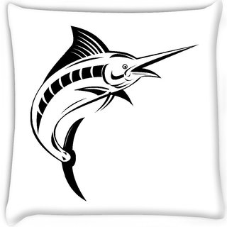 Snoogg  blue marlin jumping  Digitally Printed Cushion Cover Pillow 14 x 14 Inch