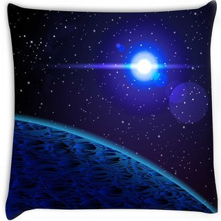 Snoogg  blue planet Digitally Printed Cushion Cover Pillow 14 x 14 Inch