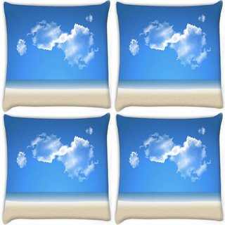 Snoogg Pack Of 4 Blue Sky Digitally Printed Cushion Cover Pillow 8 X 8 Inch