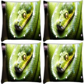 Snoogg Pack Of 4 Green Snake Digitally Printed Cushion Cover Pillow 8 X 8 Inch