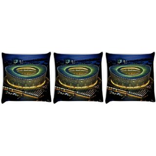 Snoogg Pack Of 3 Stadium At Night Digitally Printed Cushion Cover Pillow 8 X 8 Inch
