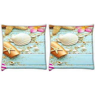 Snoogg Pack Of 2 Water Shell Digitally Printed Cushion Cover Pillow 8 X 8 Inch