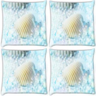 Snoogg Pack Of 4 Blue Shell Digitally Printed Cushion Cover Pillow 8 X 8 Inch