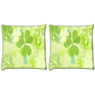 Snoogg Pack Of 2 Floral Leaves Digitally Printed Cushion Cover Pillow 8 X 8 Inch