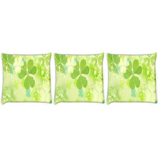 Snoogg Pack Of 3 Floral Leaves Digitally Printed Cushion Cover Pillow 8 X 8 Inch