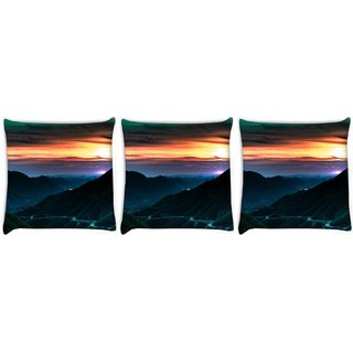 Snoogg Pack Of 3 City At Night Digitally Printed Cushion Cover Pillow 8 X 8 Inch