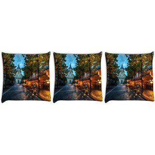 Snoogg Pack Of 3 Streets At Nite Digitally Printed Cushion Cover Pillow 8 X 8 Inch