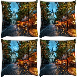 Snoogg Pack Of 4 Streets At Nite Digitally Printed Cushion Cover Pillow 8 X 8 Inch