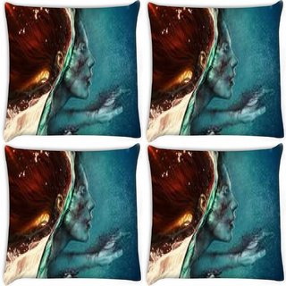 Snoogg Pack Of 4 Abstract Painting Digitally Printed Cushion Cover Pillow 8 X 8 Inch