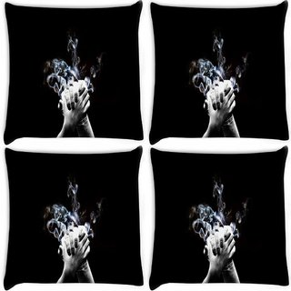 Snoogg Pack Of 4 High Five Digitally Printed Cushion Cover Pillow 8 X 8 Inch
