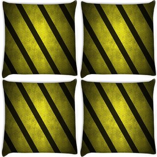 Snoogg Pack Of 4 Yellow Strips Digitally Printed Cushion Cover Pillow 8 X 8 Inch
