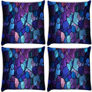 Snoogg Pack Of 4 Colorful Blocks Digitally Printed Cushion Cover Pillow 8 X 8 Inch