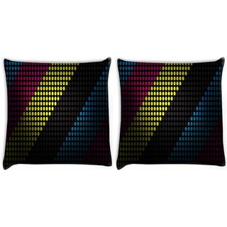 Snoogg Pack Of 2 Multiocolor Strips Digitally Printed Cushion Cover Pillow 8 X 8 Inch