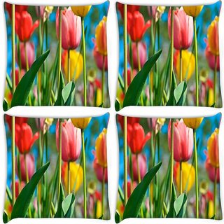 Snoogg Pack Of 4 Colorful Roses Digitally Printed Cushion Cover Pillow 8 X 8 Inch