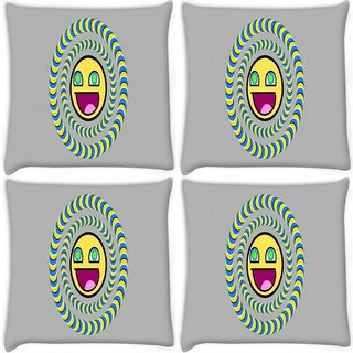 Snoogg Pack Of 4 Laughing Sun Digitally Printed Cushion Cover Pillow 8 X 8 Inch