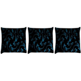 Snoogg Pack Of 3 Blue Abstract Design Digitally Printed Cushion Cover Pillow 8 X 8 Inch