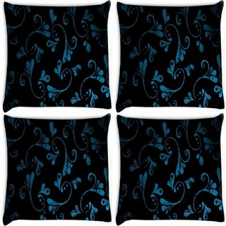 Snoogg Pack Of 4 Blue Abstract Design Digitally Printed Cushion Cover Pillow 8 X 8 Inch