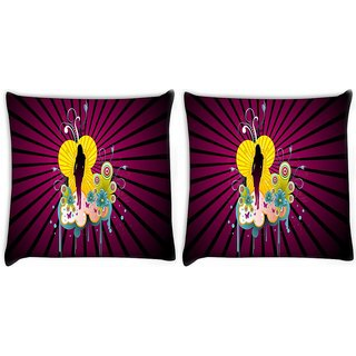 Snoogg Pack Of 2 Black Lady Digitally Printed Cushion Cover Pillow 8 X 8 Inch