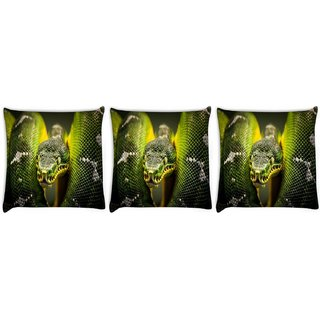 Snoogg Pack Of 3 Green Snake Digitally Printed Cushion Cover Pillow 8 X 8 Inch