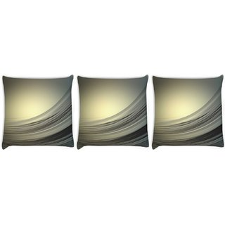 Snoogg Pack Of 3 Golden Light Wave Digitally Printed Cushion Cover Pillow 8 X 8 Inch