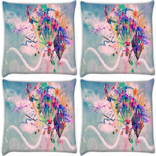Snoogg Pack Of 4 Hot Air Balloons Digitally Printed Cushion Cover Pillow 8 X 8 Inch
