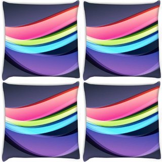 Snoogg Pack Of 4 Abstract Bright Colors Creative Digitally Printed Cushion Cover Pillow 8 X 8 Inch