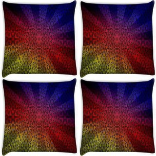 Snoogg Pack Of 4 Abstract Sun Rays Digitally Printed Cushion Cover Pillow 8 X 8 Inch