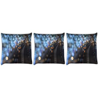 Snoogg Pack Of 3 Blurred Light Dots Digitally Printed Cushion Cover Pillow 8 X 8 Inch