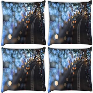 Snoogg Pack Of 4 Blurred Light Dots Digitally Printed Cushion Cover Pillow 8 X 8 Inch