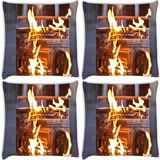 Snoogg Pack Of 4 Boombox In Fire Photography Digitally Printed Cushion Cover Pillow 8 X 8 Inch