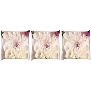 Snoogg Pack Of 3 Dahlia White Flower Digitally Printed Cushion Cover Pillow 8 X 8 Inch