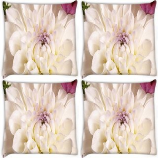 Snoogg Pack Of 4 Dahlia White Flower Digitally Printed Cushion Cover Pillow 8 X 8 Inch