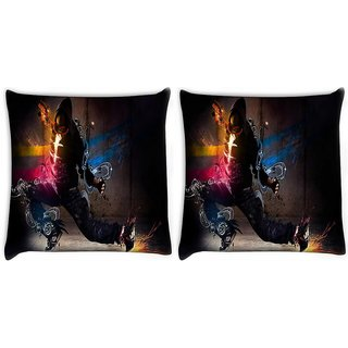 Snoogg Pack Of 2 Dance Move Digitally Printed Cushion Cover Pillow 8 X 8 Inch