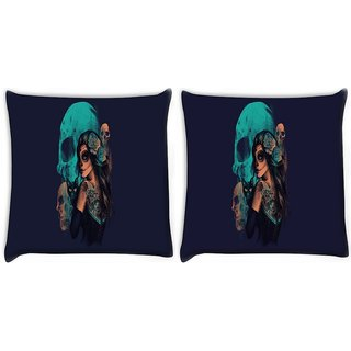 Snoogg Pack Of 2 Day Of The Dead Digitally Printed Cushion Cover Pillow 8 X 8 Inch