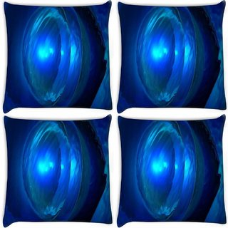 Snoogg Pack Of 4 Deep Blue Jewel Digitally Printed Cushion Cover Pillow 8 X 8 Inch