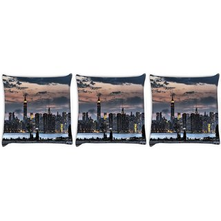 Snoogg Pack Of 3 Empire State Digitally Printed Cushion Cover Pillow 8 X 8 Inch
