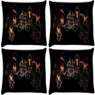 Snoogg Pack Of 4 Eric Ellis Digitally Printed Cushion Cover Pillow 8 X 8 Inch
