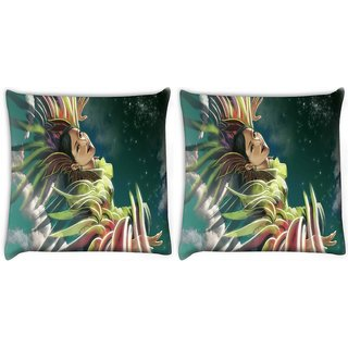 Snoogg Pack Of 2 Girl In Colors Digitally Printed Cushion Cover Pillow 8 X 8 Inch