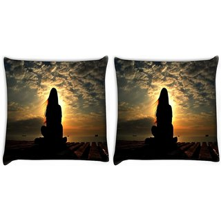 Snoogg Pack Of 2 Girl Silhouette In The Sunset Light Digitally Printed Cushion Cover Pillow 8 X 8 Inch