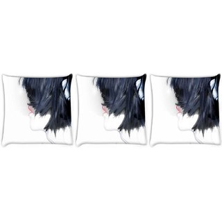 Snoogg Pack Of 3 Girl With Headphones Digitally Printed Cushion Cover Pillow 8 X 8 Inch
