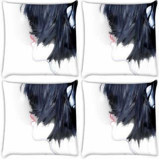 Snoogg Pack Of 4 Girl With Headphones Digitally Printed Cushion Cover Pillow 8 X 8 Inch