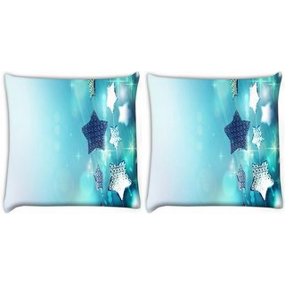 Snoogg Pack Of 2 Glitter Garland Blue Christmas Ornaments Digitally Printed Cushion Cover Pillow 8 X 8 Inch