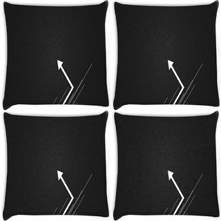 Snoogg Pack Of 4 Go Left Digitally Printed Cushion Cover Pillow 8 X 8 Inch