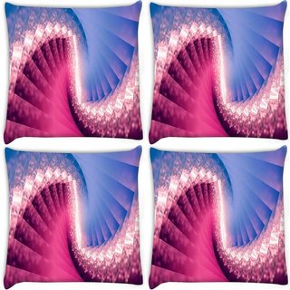 Snoogg Pack Of 4 Glowing Spiral Abstract Digitally Printed Cushion Cover Pillow 8 X 8 Inch