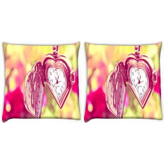 Snoogg Pack Of 2 Medalion Watch Digitally Printed Cushion Cover Pillow 8 X 8 Inch