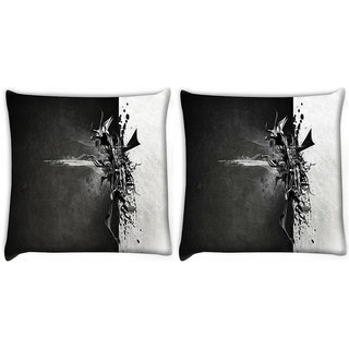 Snoogg Pack Of 2 Black And Grey Paint Digitally Printed Cushion Cover Pillow 8 X 8 Inch