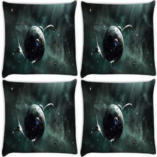 Snoogg Pack Of 4 Solar Space Digitally Printed Cushion Cover Pillow 8 X 8 Inch